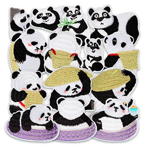 MUSCCCM Parches para Planchar para niños, 14 Parches para Planchar Panda Parche para Planchar para DIY Camiseta Vaquera Ropa Bolsillos