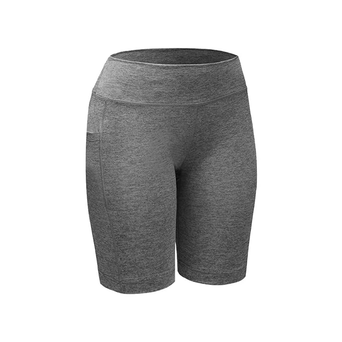 Kangma Women Pants Sport Leggings Solid Color Tummy Control Workout Running Yoga Five-Point Length Pants with Pocket