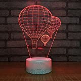 Hot Air Balloon Night Light 3D Visual LED Desk Lamp Fire Balloon Toy Household Home Room Decor 7 Colors Change Touch Table Light Birthday Gift Christmas Gift for Kids and Adult