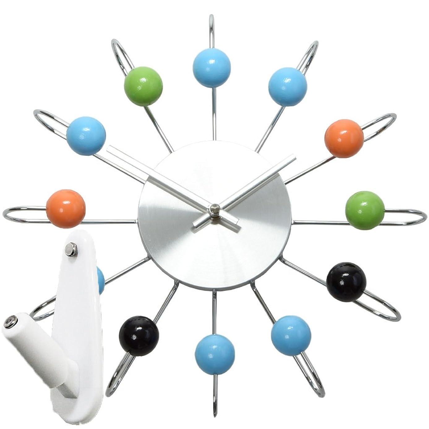 トークン動かないスクレーパージョージ?ネルソン アトミック ボールクロック + 壁の穴が目立ちにくい時計用壁掛けフック 2点セット 掛け時計 掛時計 壁掛け時計 壁掛時計 フック おしゃれ George Nelson (マルチカラー)
