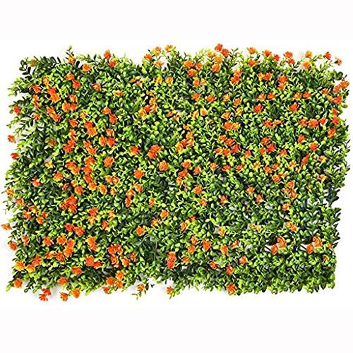HKD Seto Artificial Verde Privacidad Valla Artificial Seto Panel Planta Flor Cesped Plantas Decoración De La Pared (Color : Orange, Size : 40cm*60cm)