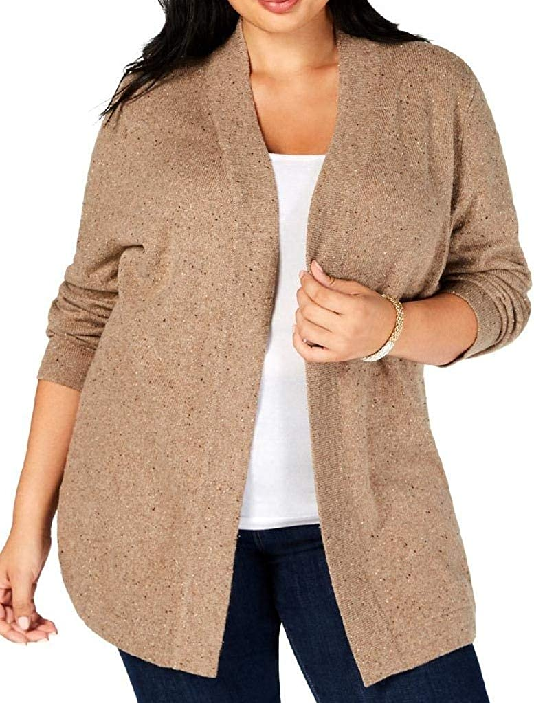 Karen Scott Womens Plus Open Front Office Cardigan Sweater