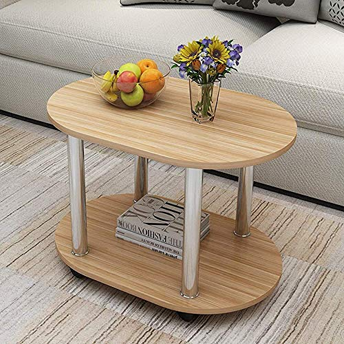 Mesa de centro oval, una pequeña mesitas de noche de madera, armarios, salón esquina de la habitación, mini mesa de café mesa de sofá con ruedas, extraíble,Yellow