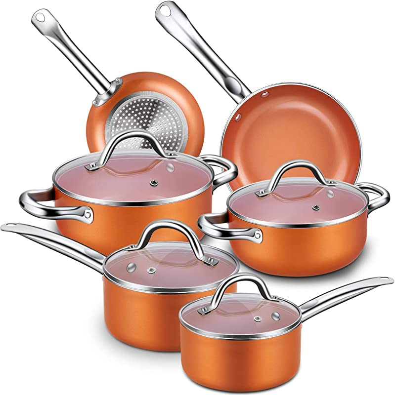Nonstick Cookware Set CUSINAID 10 Piece Aluminum Cookware Sets Pots And Pans Set Fry Pan Sauce Pan Stock Pot With Glass Lids For Stovetops Induction Cooktops Dishwasher Oven Safe Copper