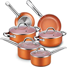 Nonstick Cookware Set, CUSINAID 10-Piece Aluminum Cookware Sets Pots and Pans Set, Fry Pan, Sauce Pan, Stock Pot with Glas...