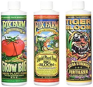 FoxFarm GLCMBX0006 Liquid Nutrient Soil Trio-Pints, Grow Big, Tiger Bloom, 16 Fl Oz Combo Pack Fertilizer