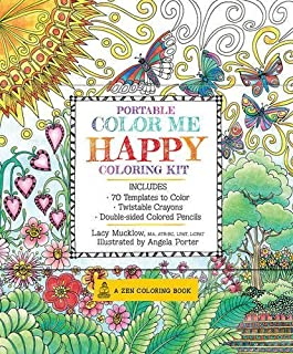 Portable Color Me Happy Coloring Kit: Includes Book, Colored Pencils and Twistable Crayons (A Zen Coloring Book) by Lacy Mucklow (2016-01-04)