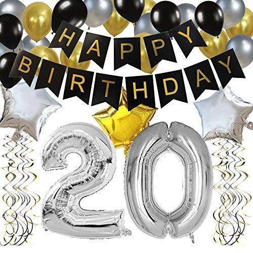 KUNGYO Classy 20. Geburtstag Party Dekorationen Satz- Schwarz Happy Birthday Banner ,Silber 20 Mylar Folienballon, Star & Latex Ballon,Hängende Wirbel