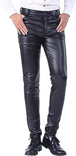 dc1396c23e623 Duolunjindun - Pantalon Homme PU Cuir Noir Métallisé Jeunes Étanche Zippé  Slim Vent Automne/Épais