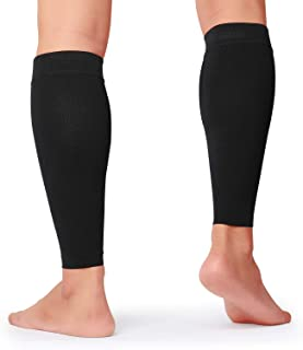 KEKING Calf Compression Sleeves for Men & Women, 1 Pair, True 20-30mmHg Leg Compression Socks Support for Running, Shin Splint, Calf Pain Relief, Swelling, Varicose Veins, Nursing, Travel, Black L/XL