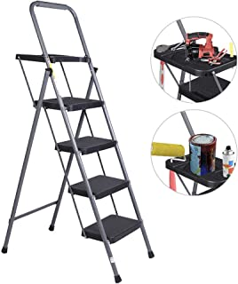 VI-CO Folding 4 Step Ladder with Tool Project Tray and Wide Anti-Slip Platform, Portable Lightweight Painting Ladder 330 lbs Capacity