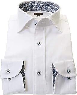 ワイシャツ メンズ STYLE WORKS スタイルワークス 綿 100% ホワイト ワイド 長袖 ドレスシャツ カッターシャツ シャツ 柄シャツ 派手シャツ|RWD111-001
