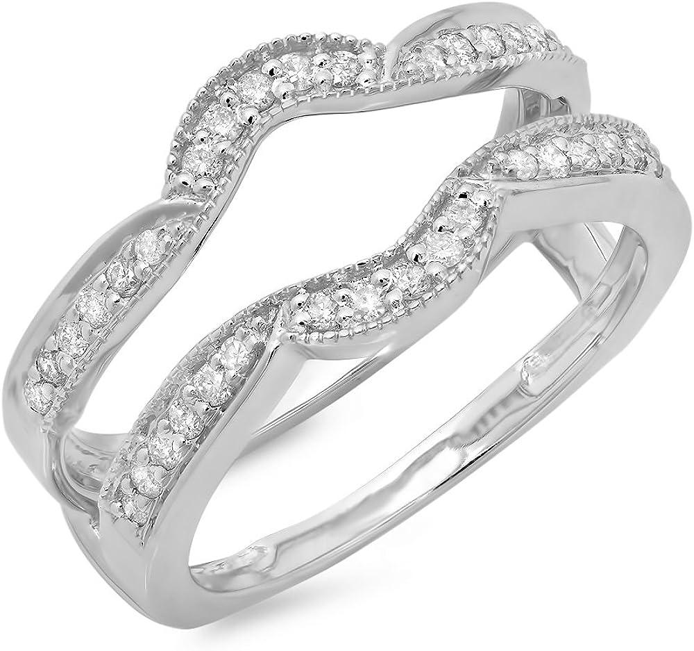 Dazzlingrock Collection 0.35 Carat (ctw) 10K Gold Round Diamond Ladies Anniversary Wedding Enhancer Double Guard Ring 1/3 CT