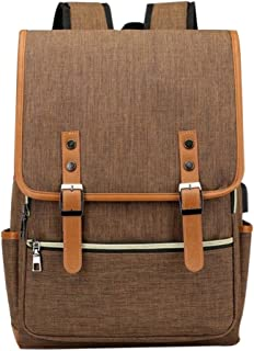 Laptop Backpack Daypack Fits 15.6 inch with USB Charging Port (Brown)