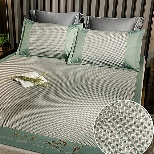 DS- Bamboo Mattress Carbonized bamboo sleeping mat,Summer household double foldable ice vine mat three-piece set (8 models) && (Color : F, Size : 1.5x2m)