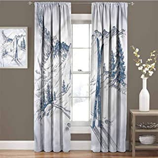 GUUVOR Winter for Bedroom Blackout Curtains Ski Sport Mountain View Blackout Curtains for The Living Room W84 x L108 Inch