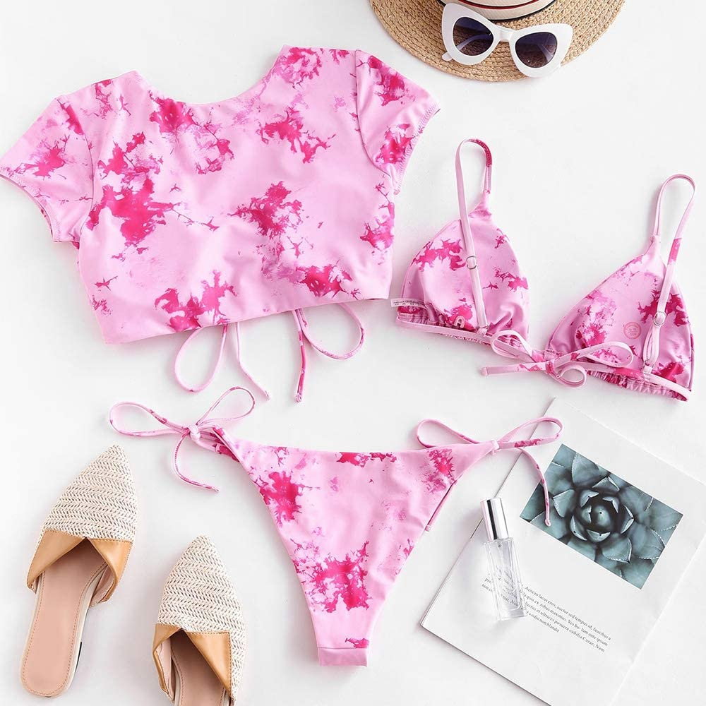 ZAFUL Women's Swimsuit Halter Ribbed Polka Dot Tie Dye String Bathing Suit Bikini Set