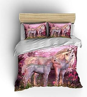 Linsaner Funda de edredón Peach Blossom Unicornio Funda de edredón Funda de Almohada Juego de Ropa