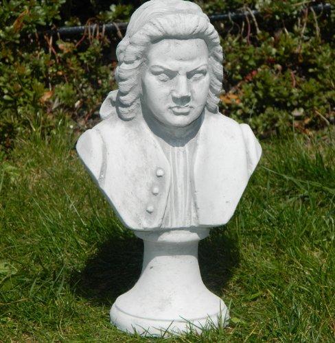 Gartenskulptur Beton Figur Büste Johann Sebastian Bach H 26 cm Statue und Skulptur aus Beton Gartendeko Garten Deko Gartenfigur Gartenskulptur