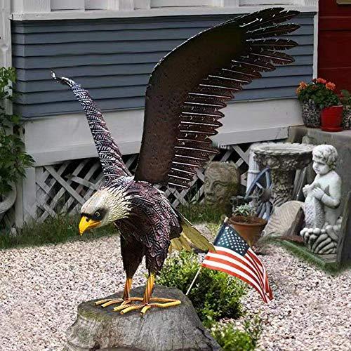 Bald Eagle Statue Outdoor Garden Sculpture Metal Yard Art Lawn Decoration
