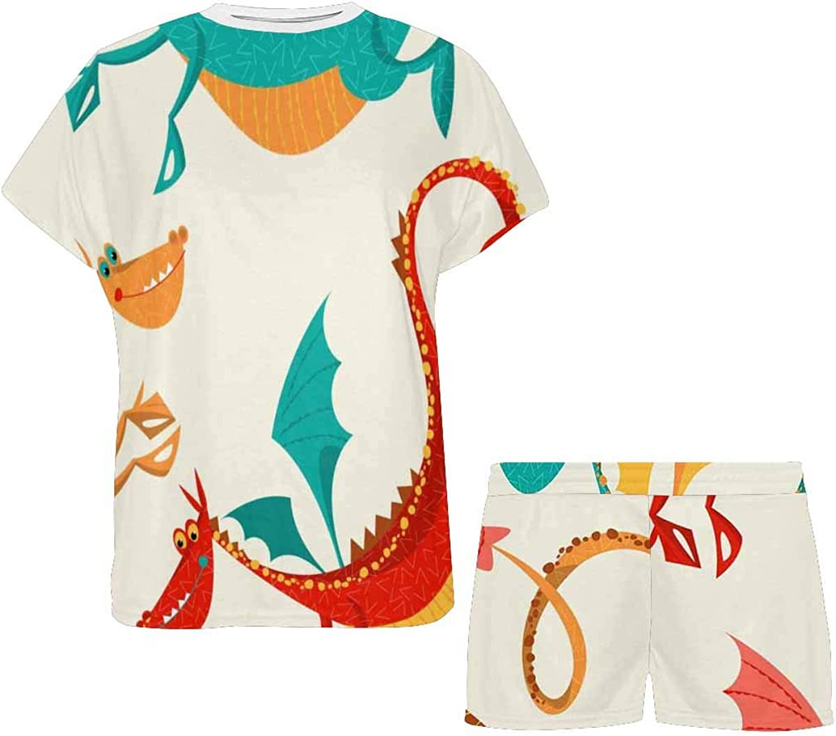 INTERESTPRINT Multicolored Funny Dragons Women's Breathable 2 Piece Shorts Pajama Sleepwear Set
