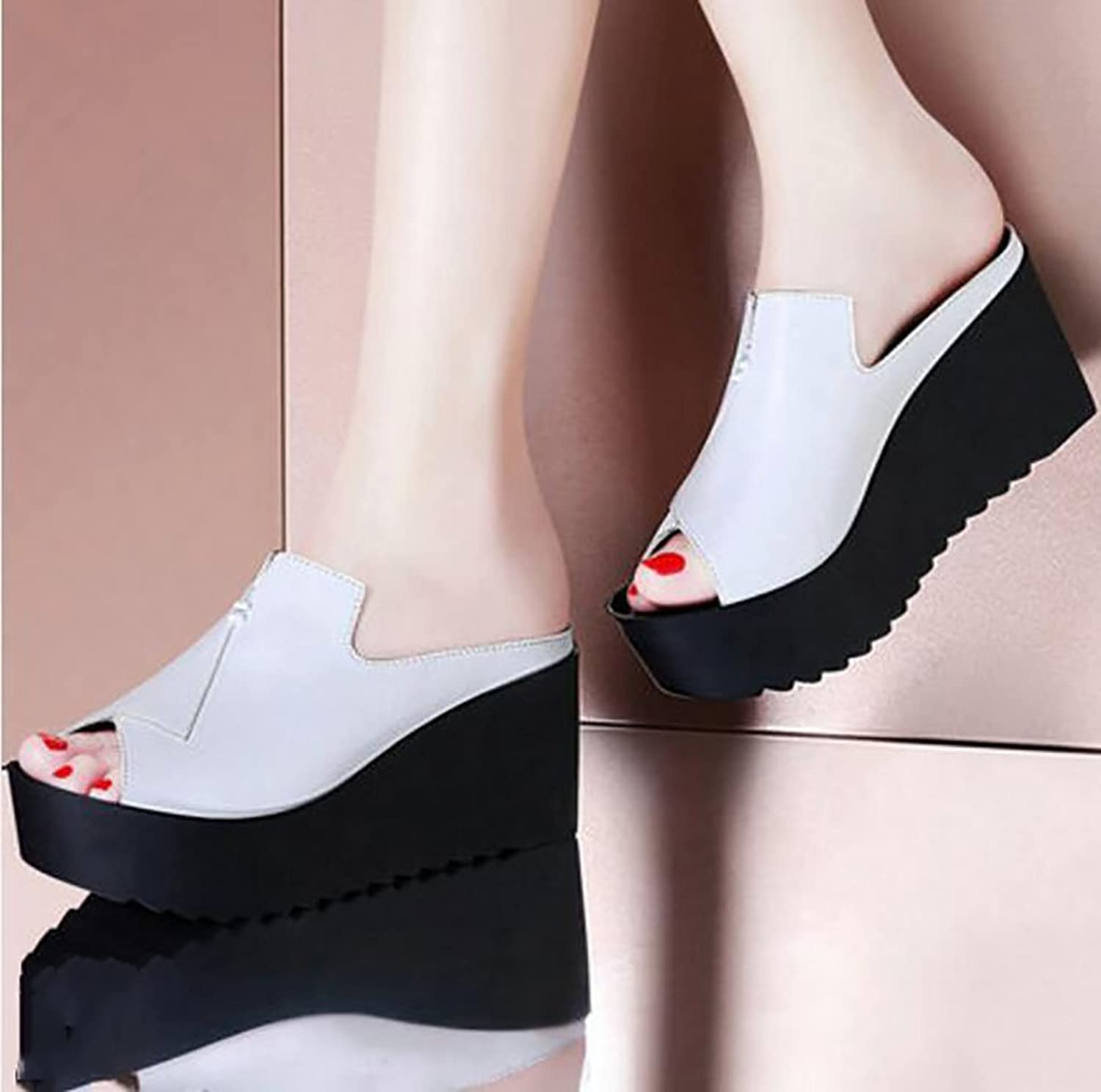 Wedges, Sandals, Slippers, Summer wear, Non-Slip Sandals, Slippers, high-Heeled Sandals Flat Sandals,Fashion Sandals (color   A, Size   38)