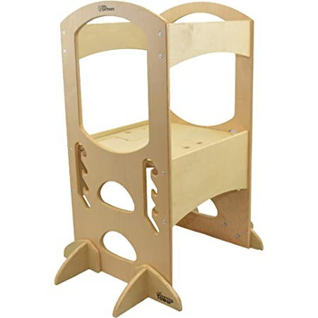 Little Partners' Kids Learning Tower – Child Kitchen Helper Adjustable Height Step Stool, Wooden Frame, Counter Step-Up Active Standing Tower (Natural)