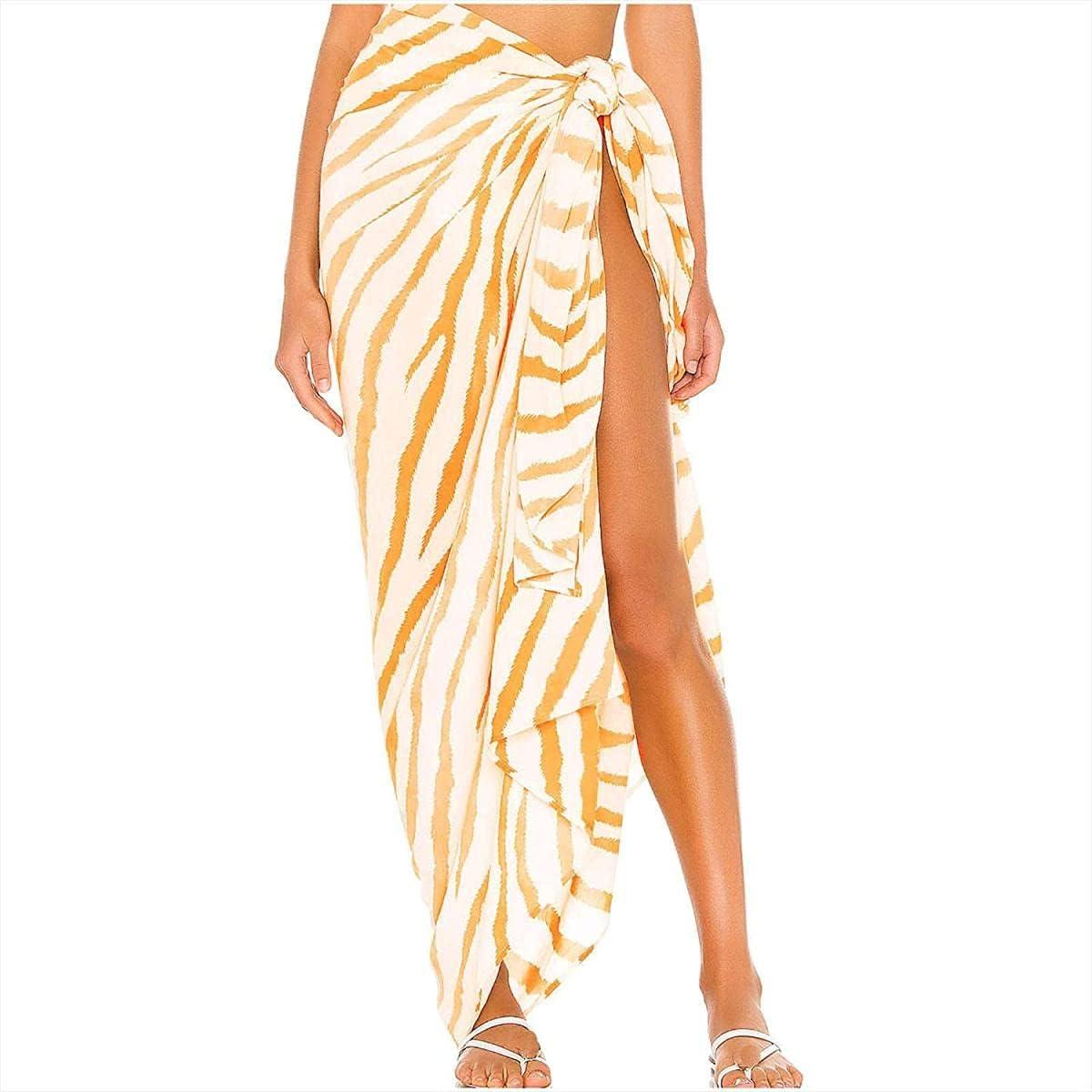 JNBGYAPS Woman Dress Work,Women Printed Swimsuit Cover Up Mesh Bikini Swimwear Beach Cover-Ups Wrap Skirt Woman Skirt for Easter Yellow