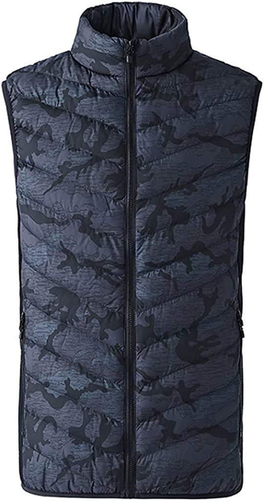 Heated Down Vest for Mens, F_Gotal Men's Lightweight Heated Vest Adjustable USB Waistcoat Vest for Hiking Skiing Fishing