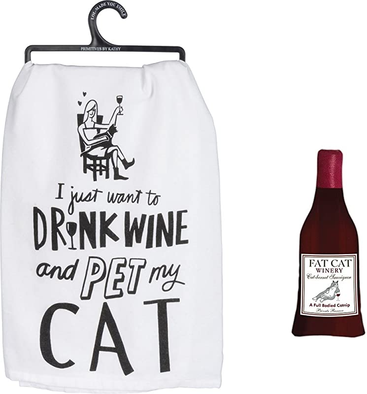 Primitives By Kathy Drink My Wine And Pet My Cat Towel Bundle With Wine Me Up Catnip Toy