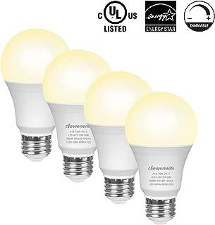 DEWENWILS 4-Pack Dimmable LED A19 Light Bulb, Soft White Light with Warm Glow, 800-Lumen, 3000-Kelvin, 10-Watt (60-Watt Equivalent), E26 Medium Screw Base, UL Listed