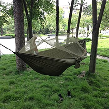 sheny Hamac ultra léger pour extérieur / camping - Charge maximale : 200 kg - 260 cm x 140 cm - Bleu (type 2 avec moustiquaire vert armée)
