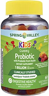 Spring Valley Kids Gummy Probiotic 1 Billion CFU + Prebiotic, Mixed Fruits, 60 Gummies