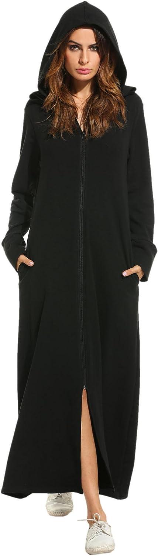 Zeagoo online shopping Womens Zip Long Robe Length Hoodie Full Sweatshirt Oklahoma City Mall Zipper