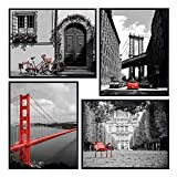 New York, Paris, San Francisco, Golden Gate Bridge Photo Set - Landmark Pictures Photography, Black White Red - Contemporary Modern Shabby Chic Prints for Living Room, Office, Apartment, Bedroom