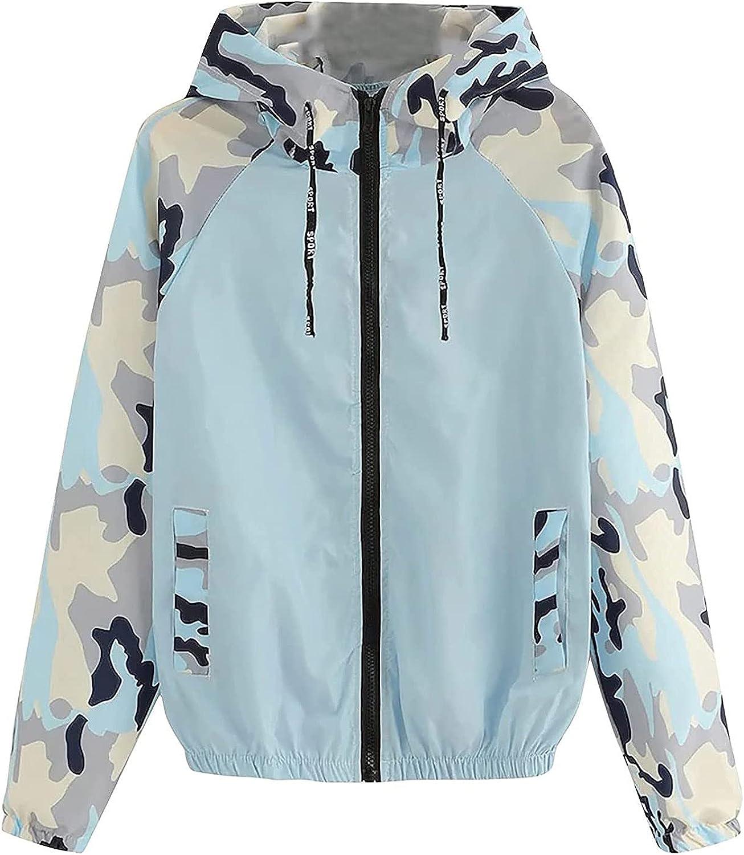 Women's Casual Camouflage Coat V Neck Zipper Long Sleeve Loose Sport Tops Tunic Workout Pocket Outwear Jackets