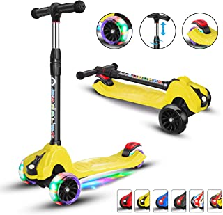 Scooters for Kids Scooter 3 Wheel for Boys Girls 4 Adjustable Height Extra-Wide Deck PU Flashing Wheels Toddlers Scooter for Children from 3 to 14 Years Old