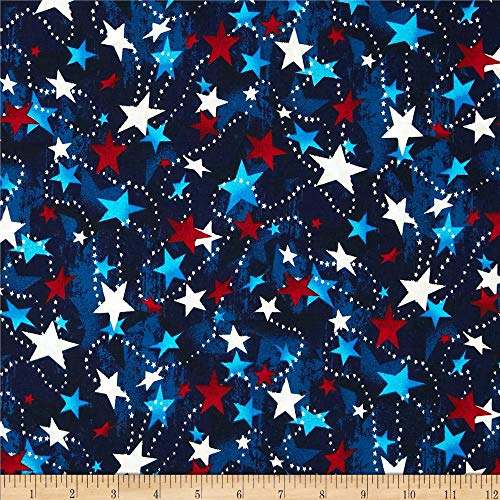 Santee Print Works Made in The USA Stars Red White Blue Fabric by The Yard,