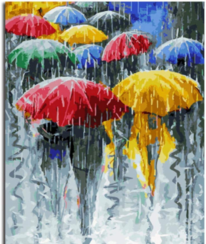 Wfyy Malen Nach Zahlen Erwachsene Fuszliggaumlnger Im Regen