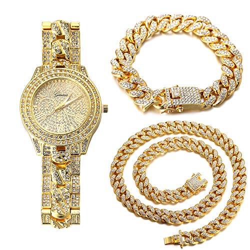 Halukakah Diamante Reloj de Oro Hombres,Chapado en Oro Real de 18k Pulsera de Cuarzo con Banda Cadena Cubana 24cm,con Cubana Pulsera 18cm + Collar 45cm,Diamante de Laboratorios,Gratis Caja de Regalo