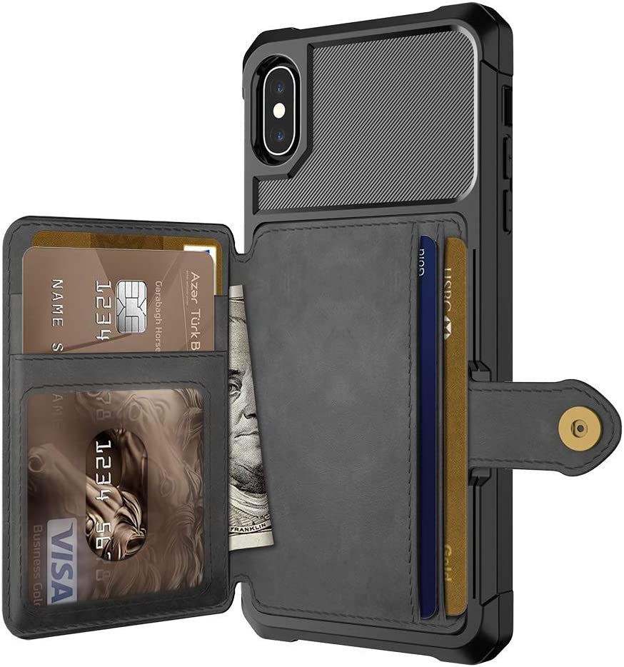 Compatible with iPhone Xs Case/iPhone X Wallet Case for iPhone X Magnetic Car Mount Premium Leather Card Slots Case Cover for iPhone Xs 5.8