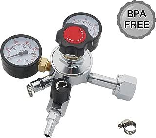 CGA-320 Co2 Pressure Regulator,Beer Keg Regulator,CO2 Kegerator Regulator, 0-60 PSI Working Pressure, 0-3000 PSI Tank Pressure, Beer Regulator, with Safety Pressure Relief Valve