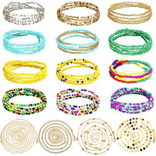 16 Piezas Cadenas de Cintura de Cuentas Perlas de Vientre Africanas Elásticas de Verano Cadena del Vientre Cuerpo de Playa Bikini Joyas de Colores para Mujer