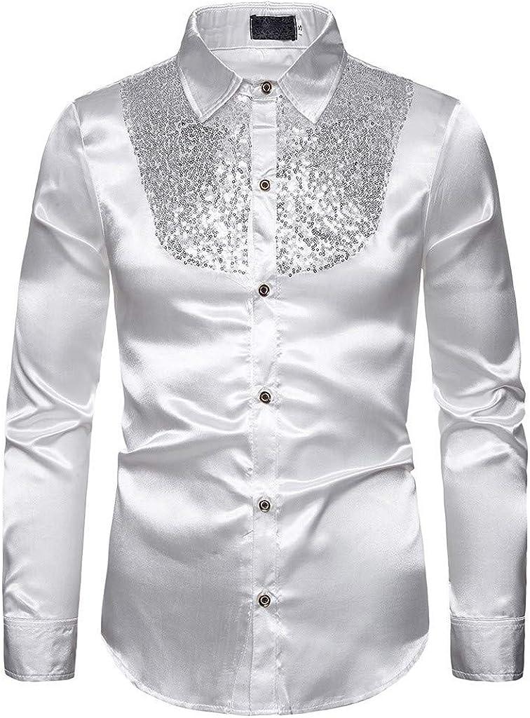Camisa de Raso de Seda con Lentejuelas para Hombre Camiseta ...