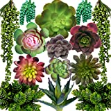 DECOROUS Artificial Succulents Plants - 14 Fake Succulents Unpotted - Indoor and Outdoor Succulants Artificial Decor - Fake Succulent for Home Office and Party Decoration Realistic Faux Succulents