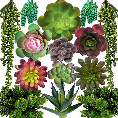 DECOROUS Artificial Succulents Plants - 14 Fake Succulents Unpotted - Indoor and Outdoor Succulants...