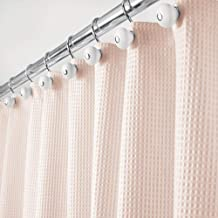 mDesign Long Polyester/Cotton Blend Fabric Shower Curtain with Waffle Weave and Rustproof Metal Grommets for Bathroom Show...