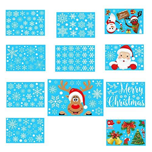 Mingbai Christmas Window Clings, Christmas Wall Stickers Double-Sided Static Window Glass Stickers Xmas Decor, Christmas Santa, Snowflake & Reindeer Window Stickers Clings Decorations, 11PC