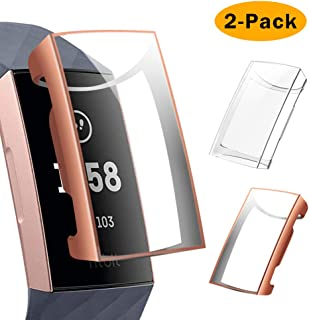 TM Y56 For Fitbit Charge 3 Case Ultra-Slim Clear PC Resin Protective Bumper Case Full Guard Cover Shockproof Screen Frame Protector Shell for Fitbit Charge 3 /& Charge 3 SE Smartwatch Accessories