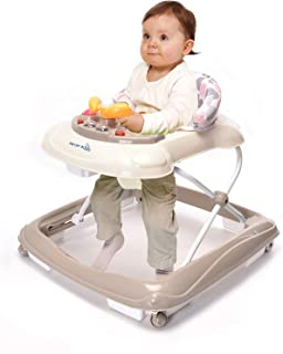 Wonder buggy Baby Walker, Fold Activity Walkers Helper with Adjustable Height and Removable Toy Tray for Baby (Beige)